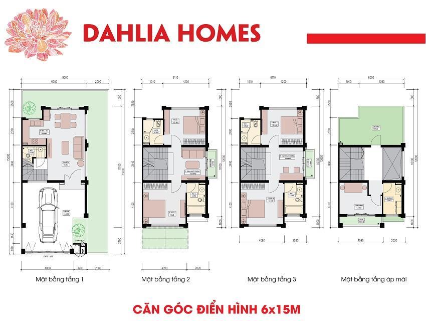 Mặt bằng thiết kế  căn góc điển hình nhà liền kề Dahlia Homes