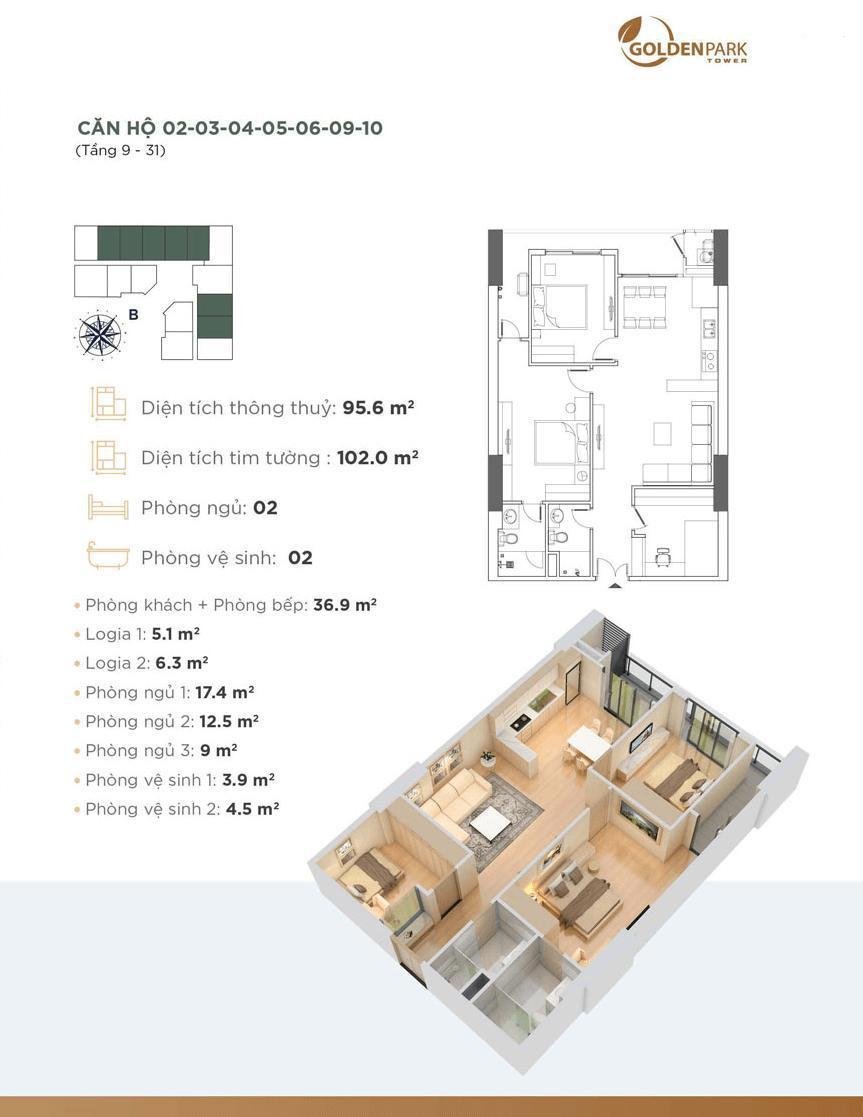 Căn hộ 2,3,4,5,6,9,10 dự án Chung cư Golden Park Tower
