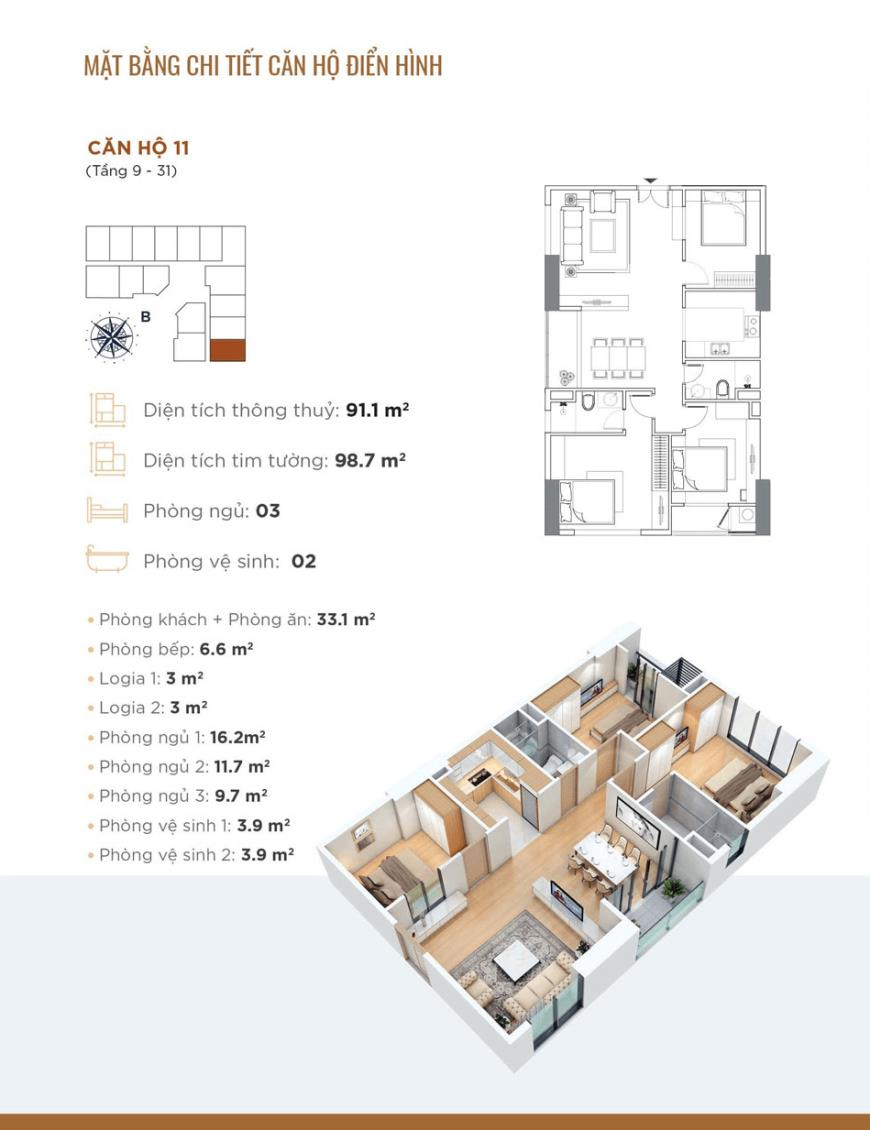 Căn hộ 11 dự án Chung cư Golden Park Tower