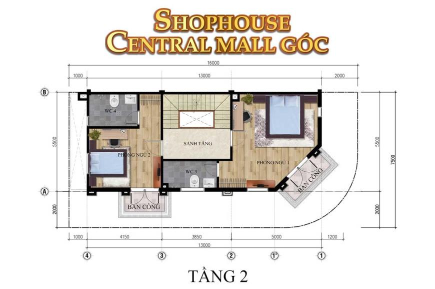 Mặt bằng tầng 2 Shophouse Central Mall dự án Thắng Lợi Central Hill
