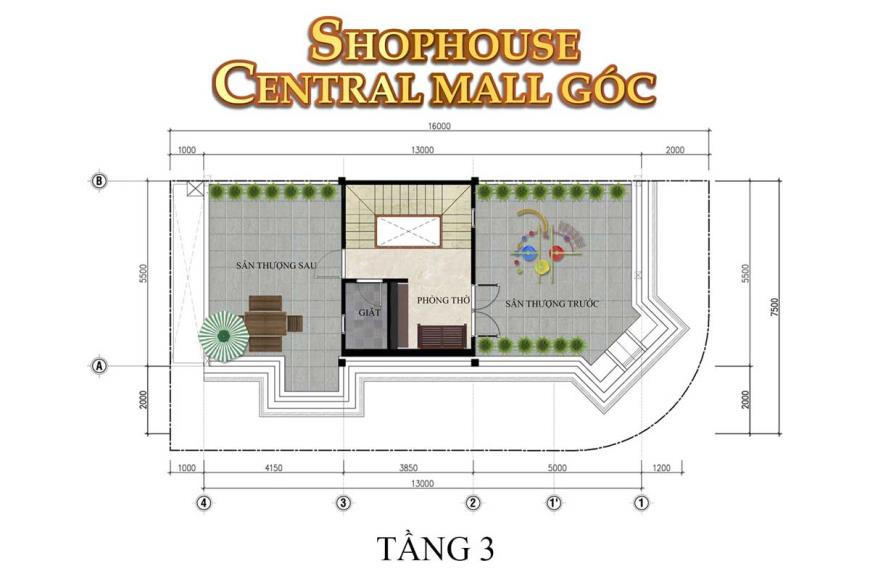 Mặt bằng tầng 3 Shophouse Central Mall dự án Thắng Lợi Central Hill