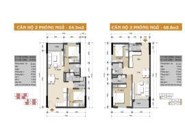 Căn hộ 2 phòng ngủ 64.5 và 68.6m2 và 72.7m2