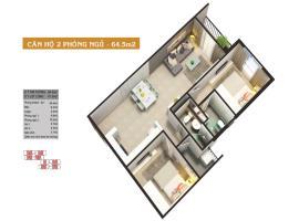 Căn hộ 2 phòng ngủ 64.5m2