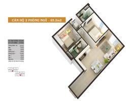 Căn hộ 2 phòng ngủ 65.2m2