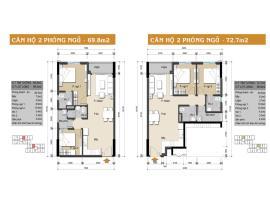 Căn hộ 2 phòng ngủ 69.8m2 và 72.7m2