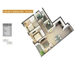Căn hộ 2 phòng ngủ 72.7m2