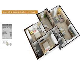 Căn hộ 2 phòng ngủ 77.5m2
