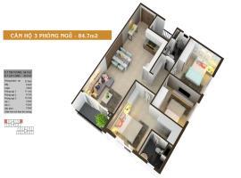 Căn hộ 3 phòng ngủ 84.7m2.