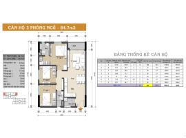 Căn hộ 3 phòng ngủ 84.7m2