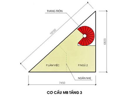 Thiết kế nhà trên đất hình tam giác