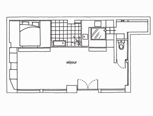 Phân chia không gian mở cho căn hộ 50m2